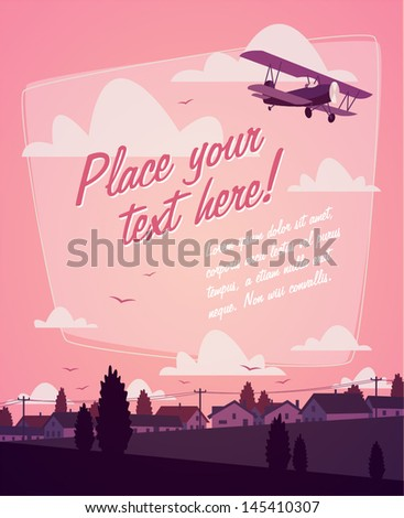 Biplane. Romantic background - stock vector