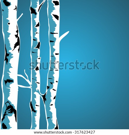 Birch tree background - stock vector