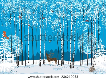 Birch trees with perching flock of bullfinches and different animals around in a winter forest  - stock vector