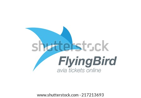 Bird abstract flying logo vector design template. Airline tickets icon. Airplane aviation company logotype concept. - stock vector