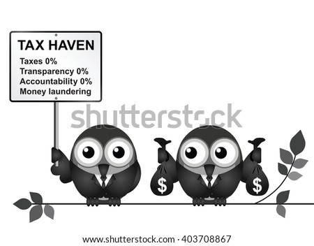 Bird businessman holding bags of money deposited in a tax haven paying no tax and shrouded in secrecy USA version - stock vector