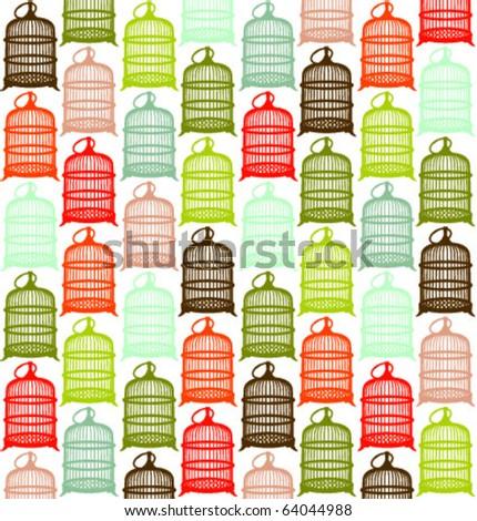 bird cage pattern - stock vector