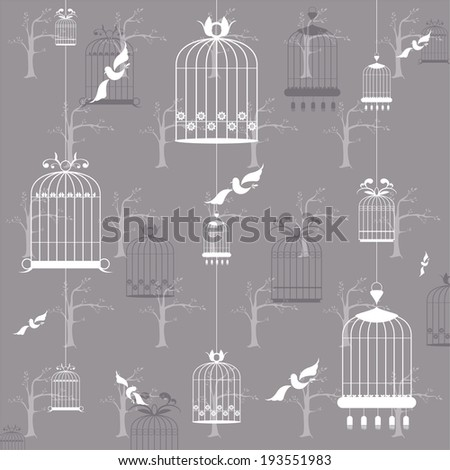 Bird cages on the gray background - stock vector
