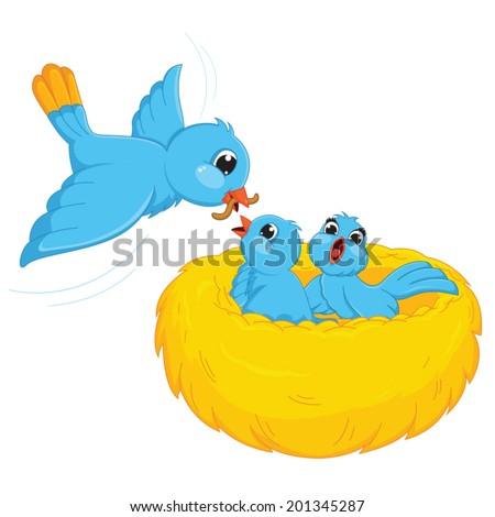 Bird Feed Babies Vector Illustration - stock vector