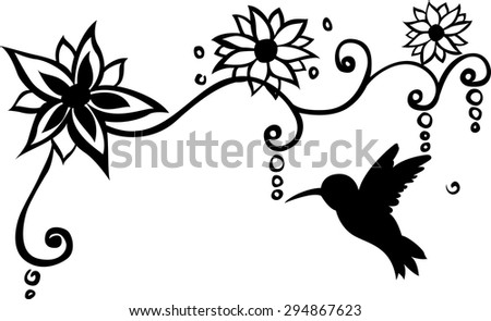 Bird Floral Wall Decal Vector Illustration - stock vector