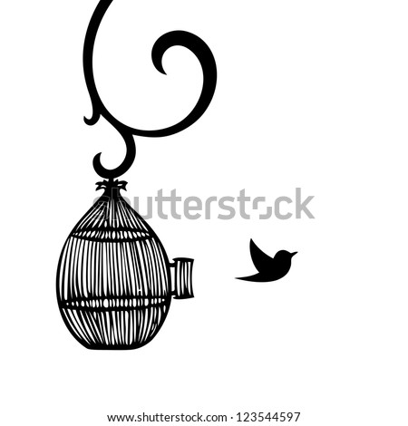 Bird flying out of the cage - stock vector