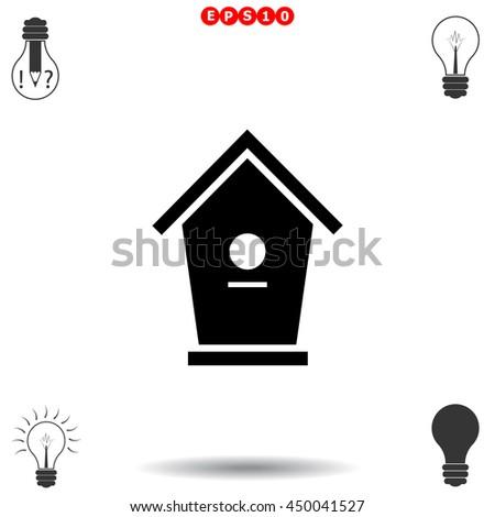 Bird House icon. Black icon on white background. - stock vector