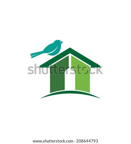 Bird house image. Vector icon - stock vector