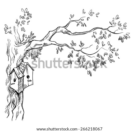 bird houses on a tree  - stock vector
