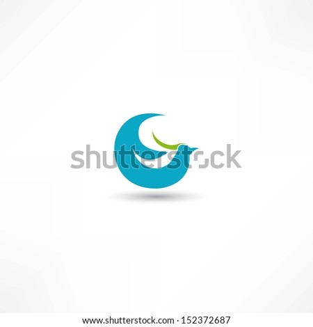 bird icon - stock vector