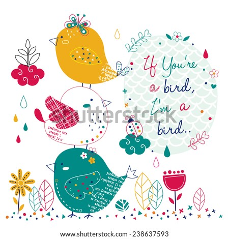 bird in the garden illustration - stock vector