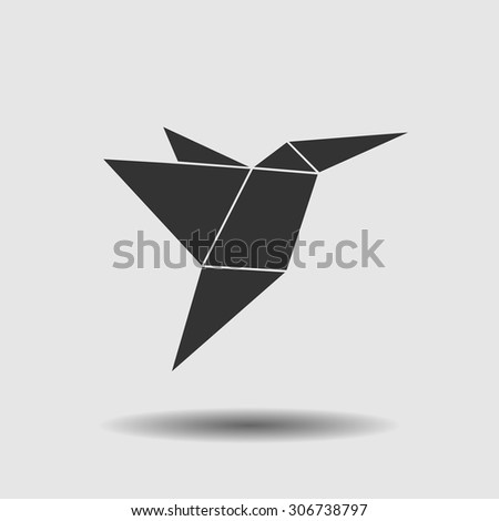 Bird made of paper. Origami icon. Vector illustration. Flat design style. - stock vector
