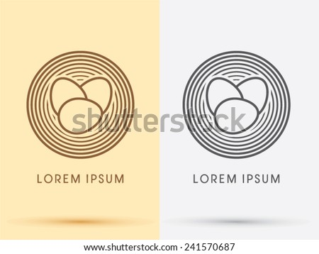 Bird nest and Eggs logo, symbol, icon, graphic, vector . - stock vector