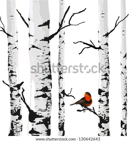 Bird of birches, vector drawing with editable elements. - stock vector