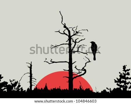 bird on branch amongst wood, vector illustration - stock vector