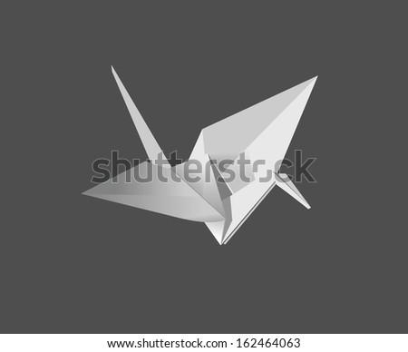 bird origami - stock vector