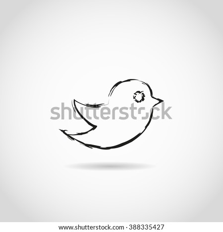 Bird painted brushes on a gray background - stock vector