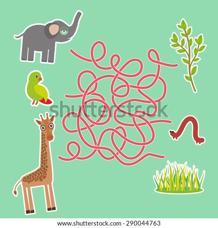 Bird parrot elephant and giraffe on green background labyrinth game for Preschool Children. Vector - stock vector