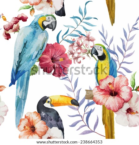 bird, pattern, watercolor - stock vector
