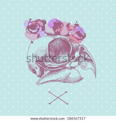 Bird's skull and wreath.Vector hand drawn illustration. - stock vector