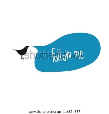 Bird saying follow me in the bubble box - stock vector