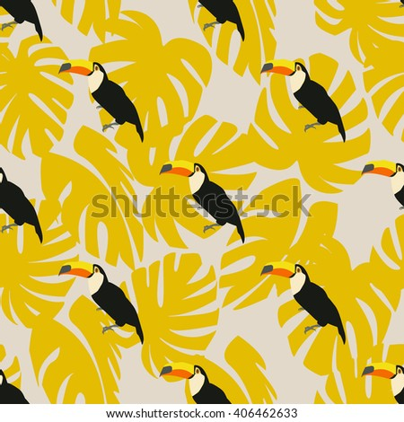 Bird seamless pattern colorful with jungle leaves toucan - stock vector