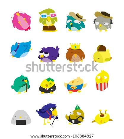 Bird Set Character - stock vector