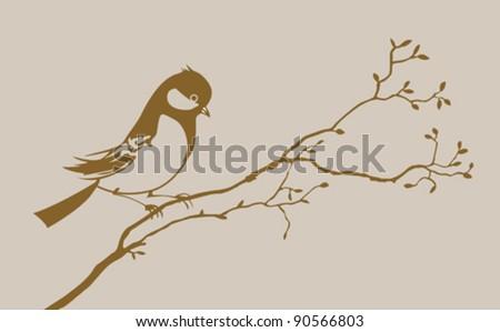 bird silhouette on brown background, vector illustration - stock vector