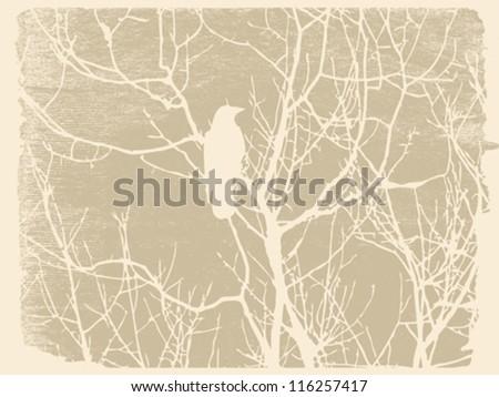 bird silhouette on grunge background, vector illustration - stock vector