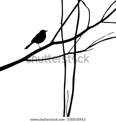 bird silhouette on wood branch, vector illustration - stock vector