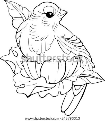 Bird tattoo outline vector - stock vector
