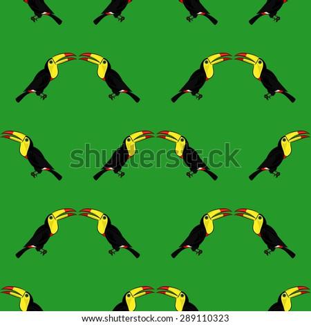 Bird Toucan seamless pattern  - stock vector