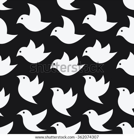 Bird vector art background design for fabric and decor. Seamless pattern - stock vector
