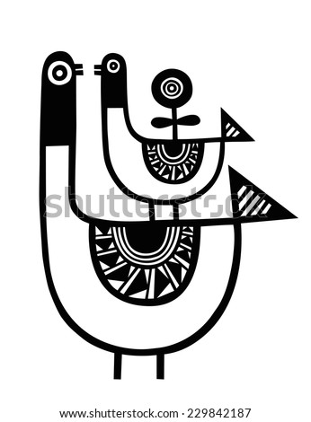 Bird, Vector illustration of a swan, duck, duckling or goose  Oriental design of a Bird with floral decoration - stock vector