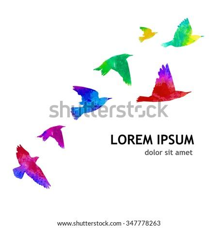 Bird watercolor. A flock of colorful birds. Vector - stock vector