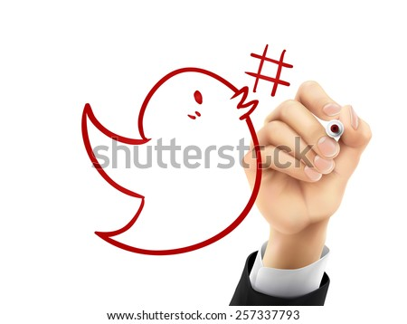 Hashtag Symbol Drawing Bird With Hashtag Symbol Drawn