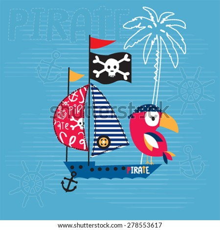 bird with pirate ship, T-shirt design vector illustration - stock vector