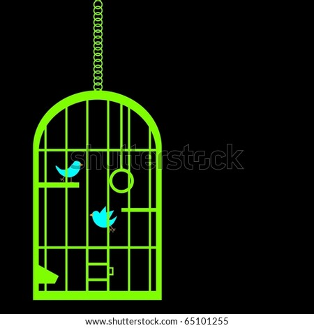 Birdcage silhouette - stock vector