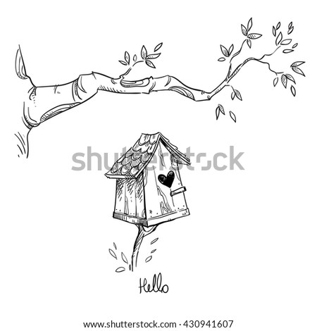 Birdhouse and the tree branch, vector illustration - stock vector