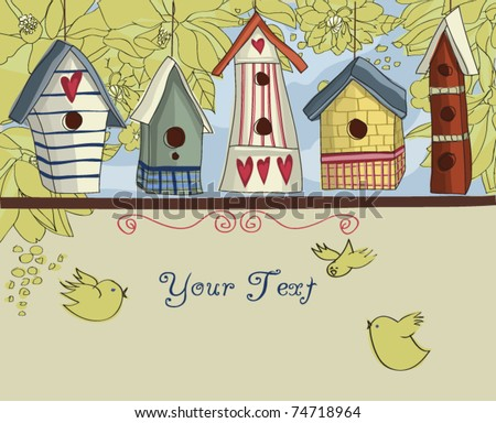 Birdhouses, horizontal background - stock vector