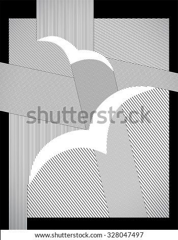 birds abstract drawing with straight lines and frame, vector art - stock vector