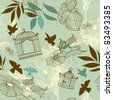 Birds and bird cages. Seamless pattern - stock vector