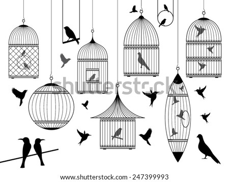 birds and birdcages collection - stock vector