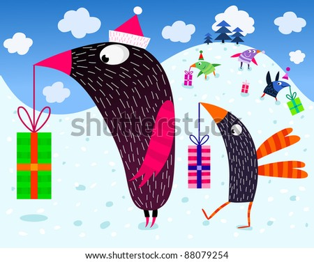 Birds and Christmas presents - vector - stock vector