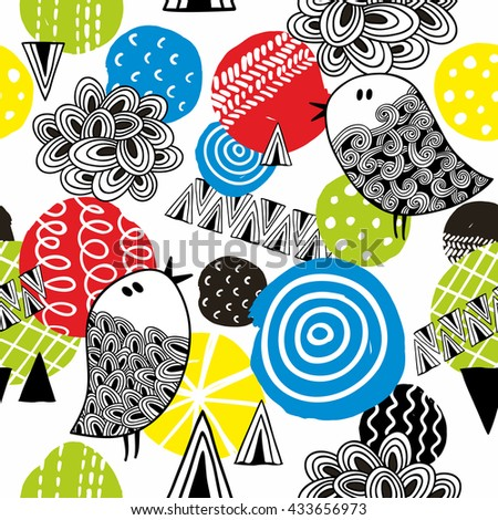 Birds and circles seamless pattern. Colorful summer illustration in vector. - stock vector