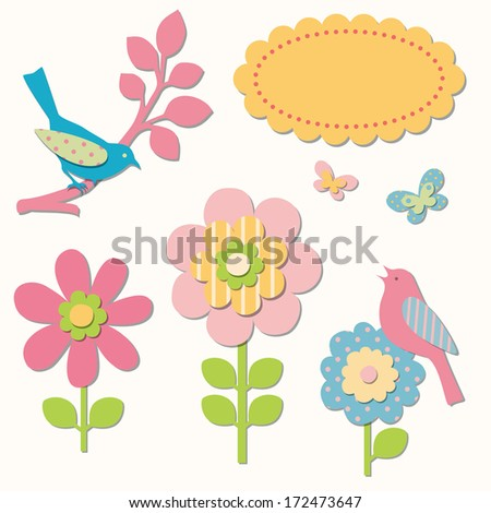 Birds and flowers - stock vector