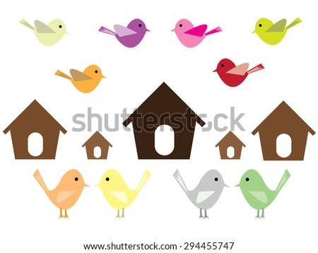 Birds and houses. - stock vector