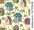 Birds and starling houses background - stock vector