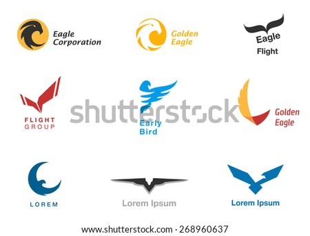 Birds branding symbols vector set on white - stock vector