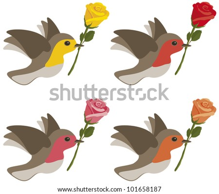 Birds carrying yellow, red, pink and orange roses isolated on white. - stock vector